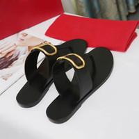 2020 de lujo de París bastante bien las sandalias del verano de la playa de diapositivas Zapatillas Damas fracasos de tirón de los holgazanes cuero de la impresión del color sólido de 35-42 con la caja