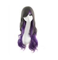 WIG envío gratis moda Lolita largo y rizado ondulado BlackPurple mezclado Cosplay Anime pelucas del partido