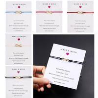 Machen Sie einen Wunsch-Papierkarten-Handmade gewebt einstellbar Armbänder Infinity Charm Lucky Seil Armband Schmuck Frauen Mädchen Beste Geschenk