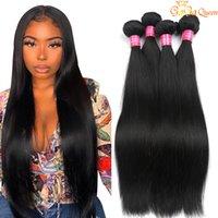 도매 Brazillian 버진 스트레이트 인간의 머리카락 4 번들 브라질 페루 말레이시아 스트레이트 헤어 익스텐션 자연 블랙