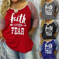 FAITH OVER FEAR Tshirt Women Spring Autumn Striped Color Pat...