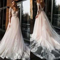 Şık Allık Pembe Dantel A Hattı Gelinlik Uzun Kollu Şeffaf Aplike Illusion Mahkemesi Tren Backless Wedding Gelinlik elbise de mariée