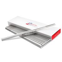 10 زوج / حزمة الغذاء الصف أعلى 304 المقاوم للصدأ عيدان أدوات المائدة المضادة للانزلاق الكورية المنزلية عيدان معدنية مربع السكاكين