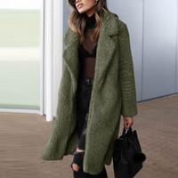 Le donne Outwear cappotto caldo del cardigan di inverno di autunno trincea manica lunga risvolto signore Fleece Jacket artificiale solido casuale
