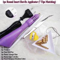 1 set 100-240V Hot-Fix Applicator Pen Point Figur Hot Guns DIY Kläder Dans Sticking Hotfix Iron Tools Hand Sy Sy Kit