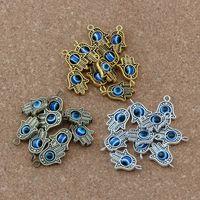 90pcs Hamsa Hand Blue eye bead Kabbalah Good Luck Charm Pendant Jewelry DIY Fit Bracelets Necklace Earrings 18.2x12.8mm 3color A-372