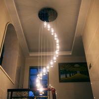 Modern Avrupa Minimalist Yaratıcı Villa K9 Kolye Lambaları Kristal LED Uzun Avize Dönen Çok Merdiven Oturma Odası Aydınlatma L