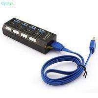 4 puertos USB 3.0 Hub USB 3.0 de alta velocidad Con portátil de encendido / apagado del USB del adaptador del divisor de cable para PC portátil