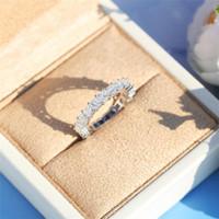 Classique Fine Jewelry Argent 925 pleine taille princesse topazes CZ diamant Gemstones Eternity Party Place Femmes mariage Bague