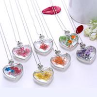 Secado botella de perfume cadenas pendientes clásico mujeres joyería de moda del jardín secreto cristal del corazón del collar de la flor de regalo del partido TTA-1111
