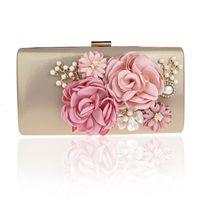المرأة الساتان أكياس المساء اللؤلؤ اليدوية الزهور الزفاف حقائب اليد مخلب مربع حقائب اليد مخلب محفظة للنساء BW-12018