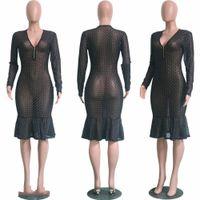 Kadın Elbise fırfır Şeffaf Seksi Giyim Lady Akşam Parti BODYCON Uzun Kollu See-Through V yaka Uzun Maxi Elbise