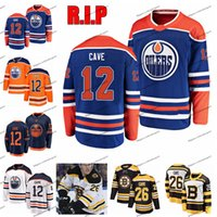 RIP Colby Cave 12 Customize Edmonton Oilers Hockey Jerseys Alternate Mens Orange 12 Colby Cave Sterched Jerseys Boston Bruins Shirt S-XXL