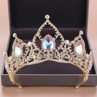 DIEZI barroco nupcial cristalino del AB Coronas Tiara novia oro diadema diadema de boda corona de la reina de la princesa Accesorios para el cabello