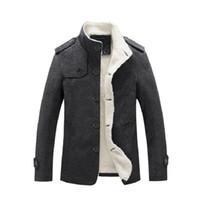 2019 Winter Herrenjacke Mantel Fleece gefüttert dicke warme Wollmäntel Herbst Mantel männlich Wollmischung Jacken Mann Marke Kleidung