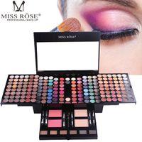 MISS ROSE Sets de maquillaje 180 colores Paleta de sombras de ojos Mate Desnudo Brillo Paleta de sombra de ojos de larga duración con brocha para el polvo en polvo para cejas