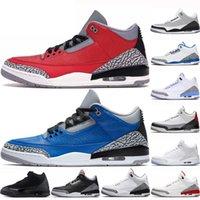 3 3s Cemento nuevos hombres zapatos de baloncesto del equipo universitario Real Rojo Fuego Zapatos Katrina Rojo Fuego JTH hombre zapatillas de deporte