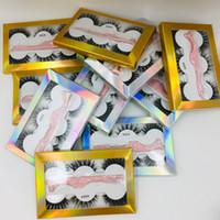 Новые лже норка ресницы полная полоса 3d накладные ресницы 3 пары пакетов коробка с розовым пинцет с голографическим коробкой 6styles DHL