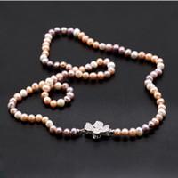 Culture d'eau douce Edison Collier de perles 36 pouces 9-10mm Taille perle Charms Papillon cadeau de Collier Amour souhaits Bijoux perle