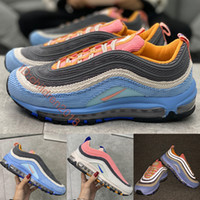 Top Quality 97 Corduroy Light Blue Running Shoes 2020 Ar Almofada Design 3M reflexiva Soft Pack Homens Mulheres Sneakers tamanho US 5,5-11