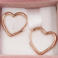 أصيلة 925 الاسترليني الفضة ترصيع غير المتماثلة القلب هوب أقراط تناسب الأوروبي باندورا نمط ترصيع مجوهرات 288307