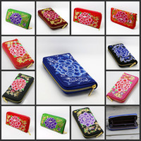 9styles Ethnic Style Embroidered Long Wallet zipper Flowers ...