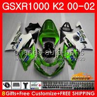 Frame For SUZUKI GSXR 1000 K2 green white GSXR1000 2000 2001 2002 Body 14HC.108 GSX R1000 00 02 GSXR-1000 GSX-R1000 00 01 02 Fairings kit