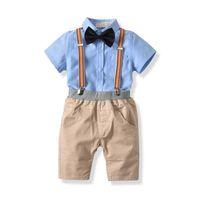 여름 어린이 부티크 의류 어린이 디자이너 옷 유아 소년 의류 아기 소년 세트 셔츠 + 서스펜더 바지 반바지 A2365