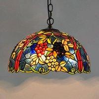 17 بوصة مطعم الأوروبي غرفة الفن غرفة تيفاني الطعام الخفيفة كلاسيكي العنب قلادة الإضاءة المعيشة زجاج ملون اللون قلادة مصباح