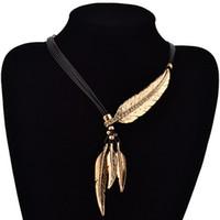 6pcs piuma collane pendenti in pelle vintage maxi colar per collana di dichiarazione donne gioielli di moda regali t-22
