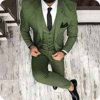 Men Suits Green White Custom Made Wedding Suits Business Sui...