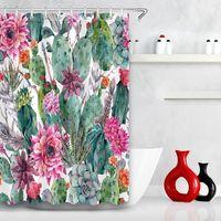 Cactus flor verde planta cortina de chuveiro impermeável banheiro de pedra padrão de pedra engrossado cortina com gancho banheiro suprimentos