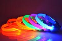 lazo del perro LED llanura collar de poliéster de color collar de nylon del animal doméstico collar de perro productos del perro pequeño y mediano tamaño LXL713Q
