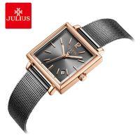 Reloj de acero inoxidable Julius reloj gris de alta calidad con malla Calendario banda de moda de las mujeres cuadradas Whatch Dropshipping JA-1083