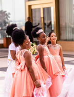 African Black Girl Lace Appliqied A- line Flower Girl Dress B...