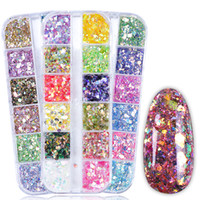 12 цветов / Set Mermaid ногтей Блеск блестки круглый шестигранной Sparkly Paillette голографические украшения ногтей Маникюр TR735