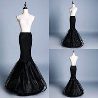 Nouveau jupons de sirène noire Femme 1 cerceau Deux couches Tulle Unverskirt Accessoires de mariage
