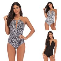 2019 New Euro- American fat plus- size swimsuit one- piece slim...
