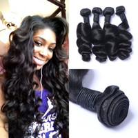 Бразильский Сыпучие волна расширения человеческих волос 4 шт Natural Black Double Drawn Virgin волос Плетение Связки