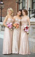 Kılıf Gül Altın Sequins Nedime Elbiseleri Uzun Sevgiliye Robe D'Invité de Mariage Gelinlik Gelinlikler 2018