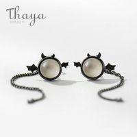 Thaya originaux Little Devil S925 Argent Sterling Noir Stud Oreille femme oreille goutte longue queue Mini Boucles d'oreilles pour les femmes cadeau CJ191223