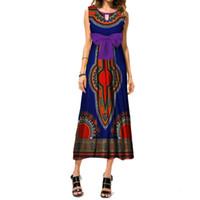 Vestidos africanos para as Mulheres Dashiki Imprimir Bow Tie Longo Vestido Bazin Riche 100% Algodão Ankara Vestido de Noite Africano Roupas WY3460