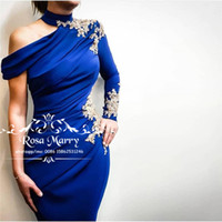 Sexy Royal Blue Mermaid Evening Dresses 2019 High Neck Gold ...