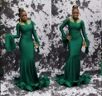 Vintage Green Long Sleeves with Gold Appliques Prom Dresses ...