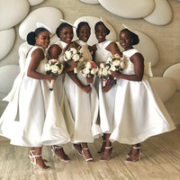 Ankle Length White Bridesmaid Dresses 2020 African Arabic La...