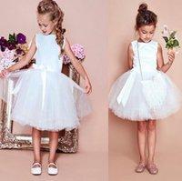2019 결혼식 무릎 길이에 대 한 2019 년 간단한 흰색 꽃 소녀 드레스 여자 미인 드레스 Primera Comunion Vestido de daminha dress kids for Kids