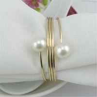 12pcs liga de prata / ouro chapeado pérola Bead guardanapo anel de guardanapo Buckle Titular Hotel Wedding Party Favor Decoração