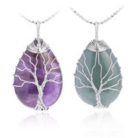 Necklace Natural Gemstone Crystal Pendant Necklaces For Men Women Rose Quartz Tiger Eye Opal Tree Of Life Pendants With Gold Silver Cha Kuvi
