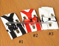 Moda Çocuk askı erkek kız askı Çocuk Y-şekli ayarlanabilir dayanıklı parantez elastik kemerler Yaylar kravat 2 adet setleri Y2594