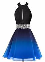 2020 мода градиент Холтер шифон короткое выпускного вечера платья ломбер бисером вечернее платье выпускного вечера платья